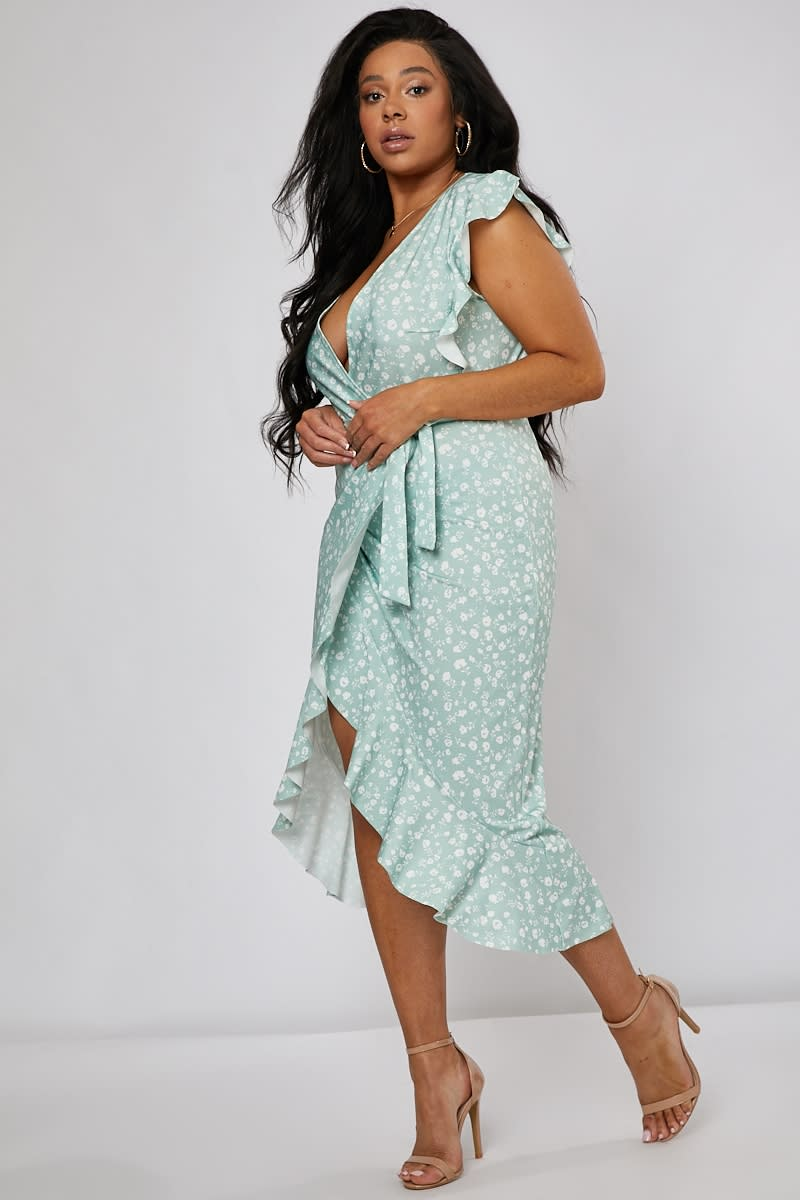 6d7175d53b Curve Billie Faiers Sage Green Ditsy Floral Frill Wrap Front Midi Dress    In The Style