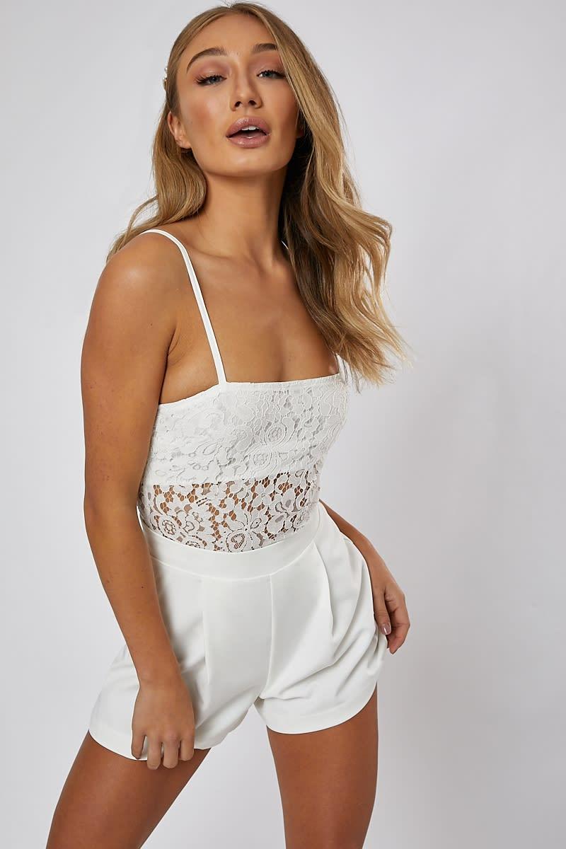 bcd932b0983b Manica White Lace Square Neck Bodysuit | In The Style Australia