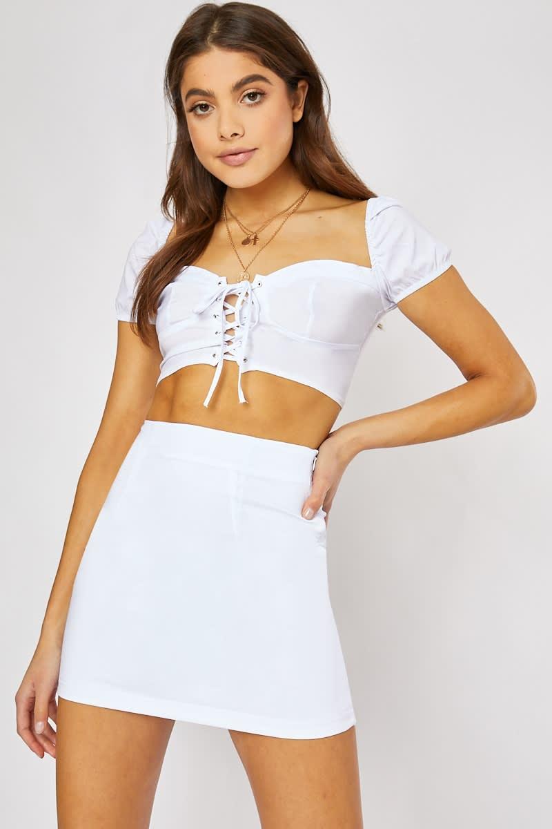 98ee326d8 Calia White Bodycon Mini Skirt | In The Style Australia