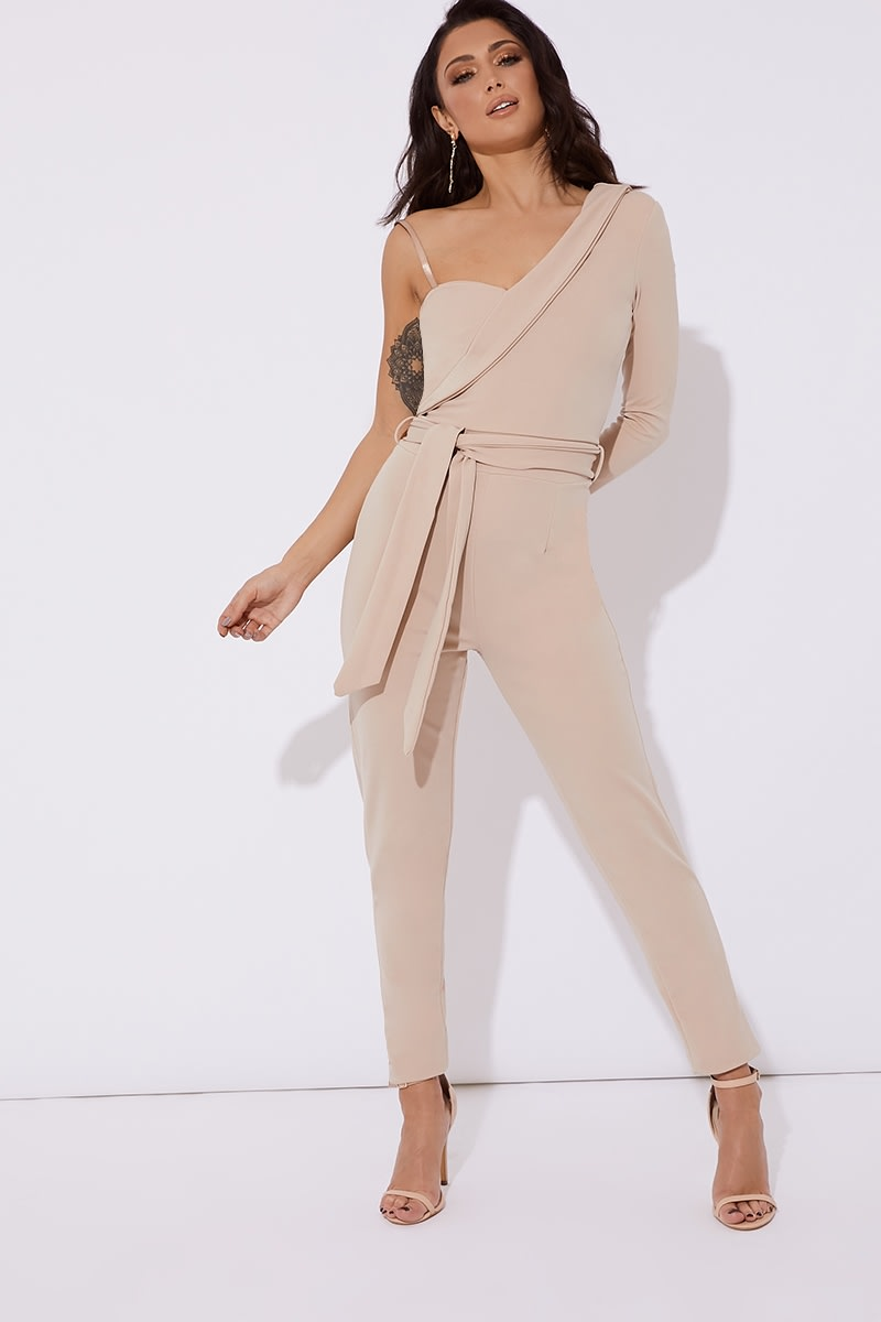 70e6343bc114 Rita Stone Asymmetric One Shoulder Tux Jumpsuit | In The Style