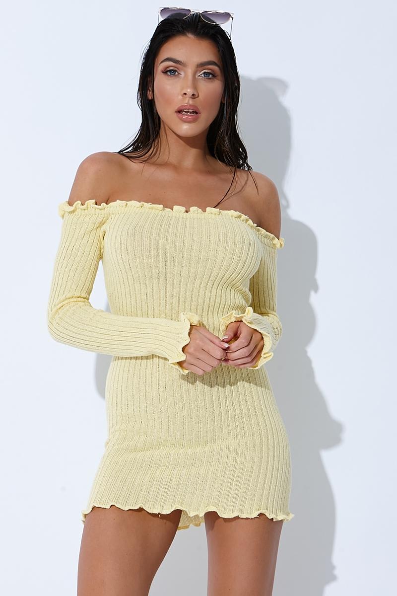 12c8982c6ebc Sarah Ashcroft Lemon Ribbed Ruffle Long Sleeve Bardot Dress   In The ...