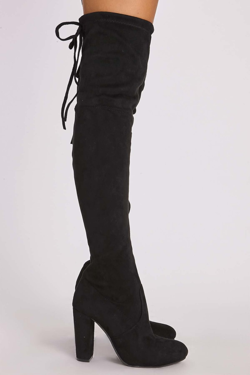 dbc78e0b907 Remi Black Faux Suede Over The Knee Heeled Boots   In The Style