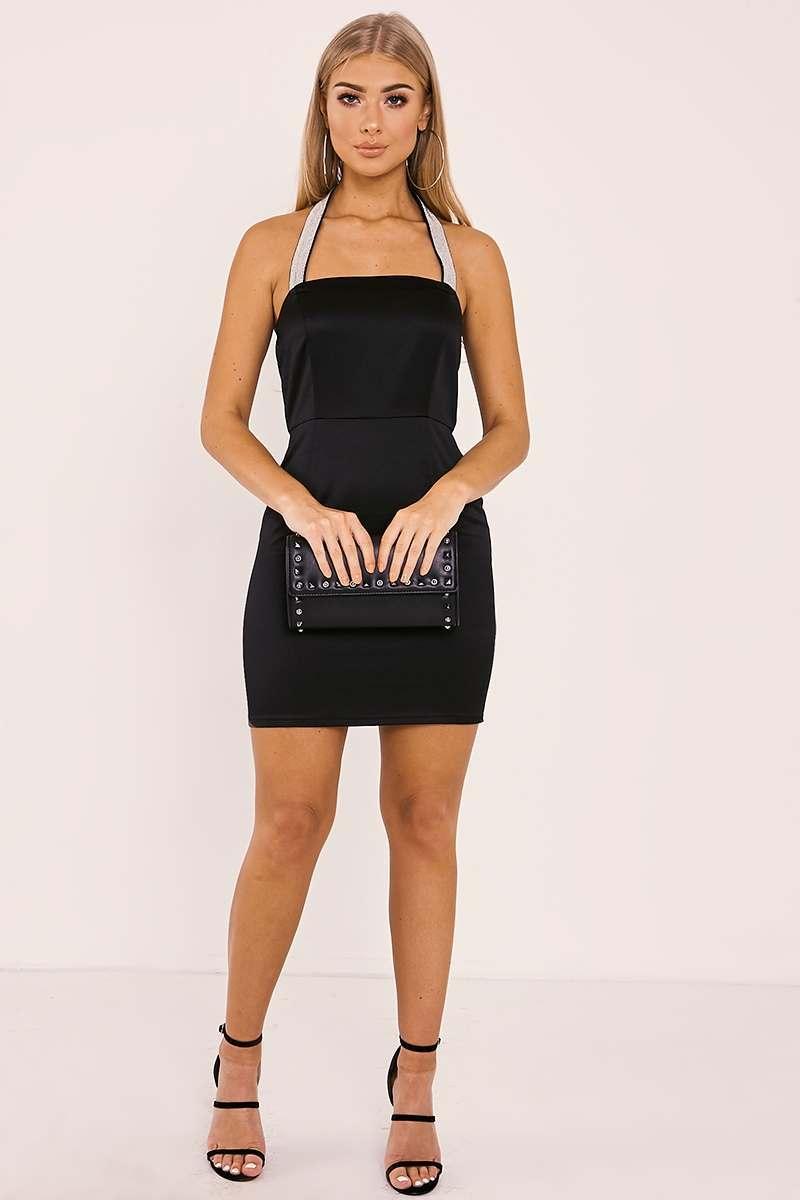 a51907772385 Billie Faiers Black Diamante Strap Satin Mini Dress   In The Style