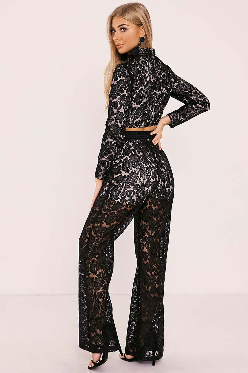 2c74a4c80f4dae Billie Faiers Black Lace Palazzo Trousers | In The Style