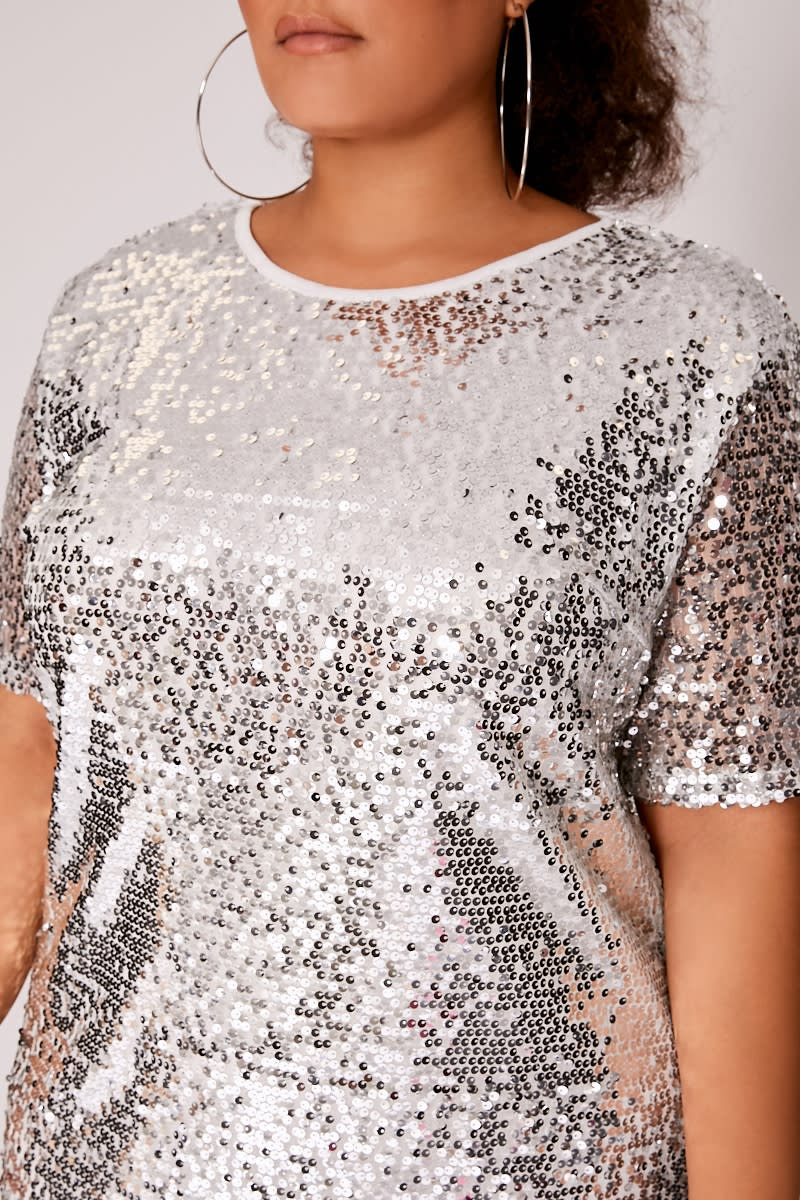 d3b6240d0 Curve Madeline Silver Sequin T Shirt Dress | In The Style