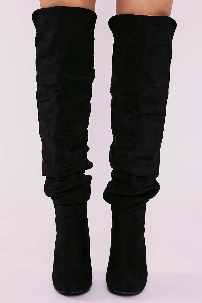 c973f62340317 Sellah Black Faux Suede Ruched Over The Knee Heeled Boots | In The Style