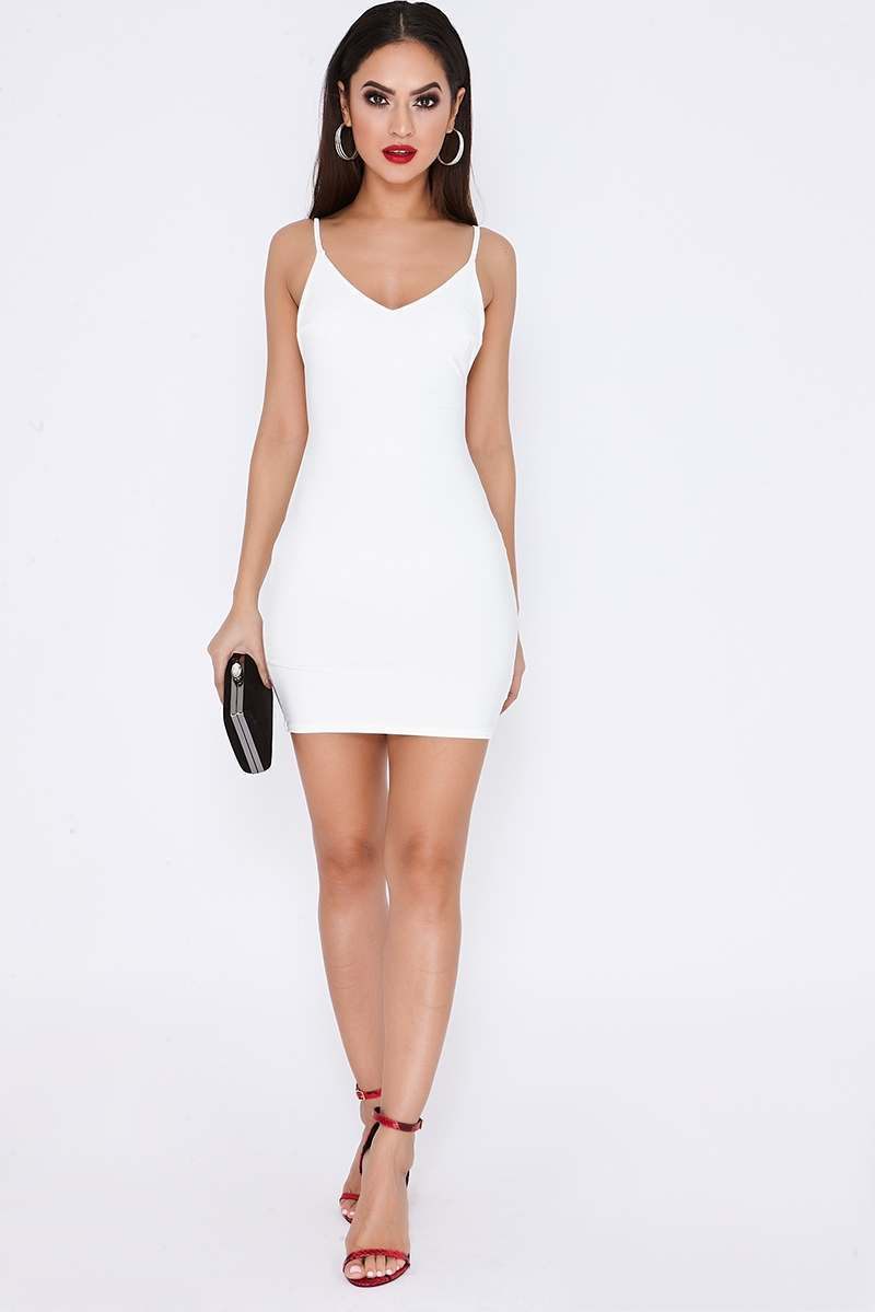 17e8f6ed932e Tammy Hembrow White Ruched Knot Detail Slinky Mini Dress | In The Style