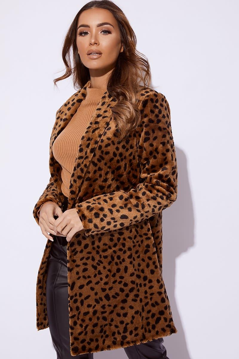 a2f2df2df72b Billie Faiers Brown Leopard Print Faux Fur Coat | In The Style