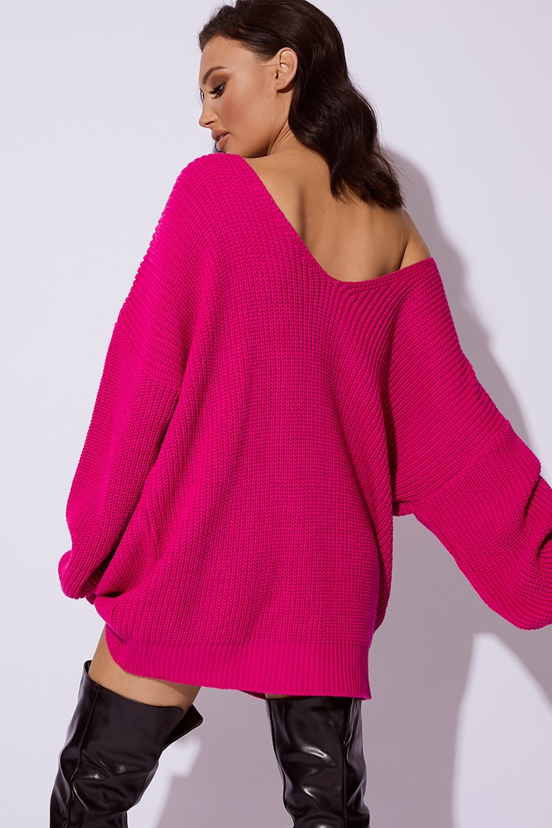 93e7aa2c7fe7 Cc Clarke Hot Pink Oversized V Neck Jumper Dress | In The Style