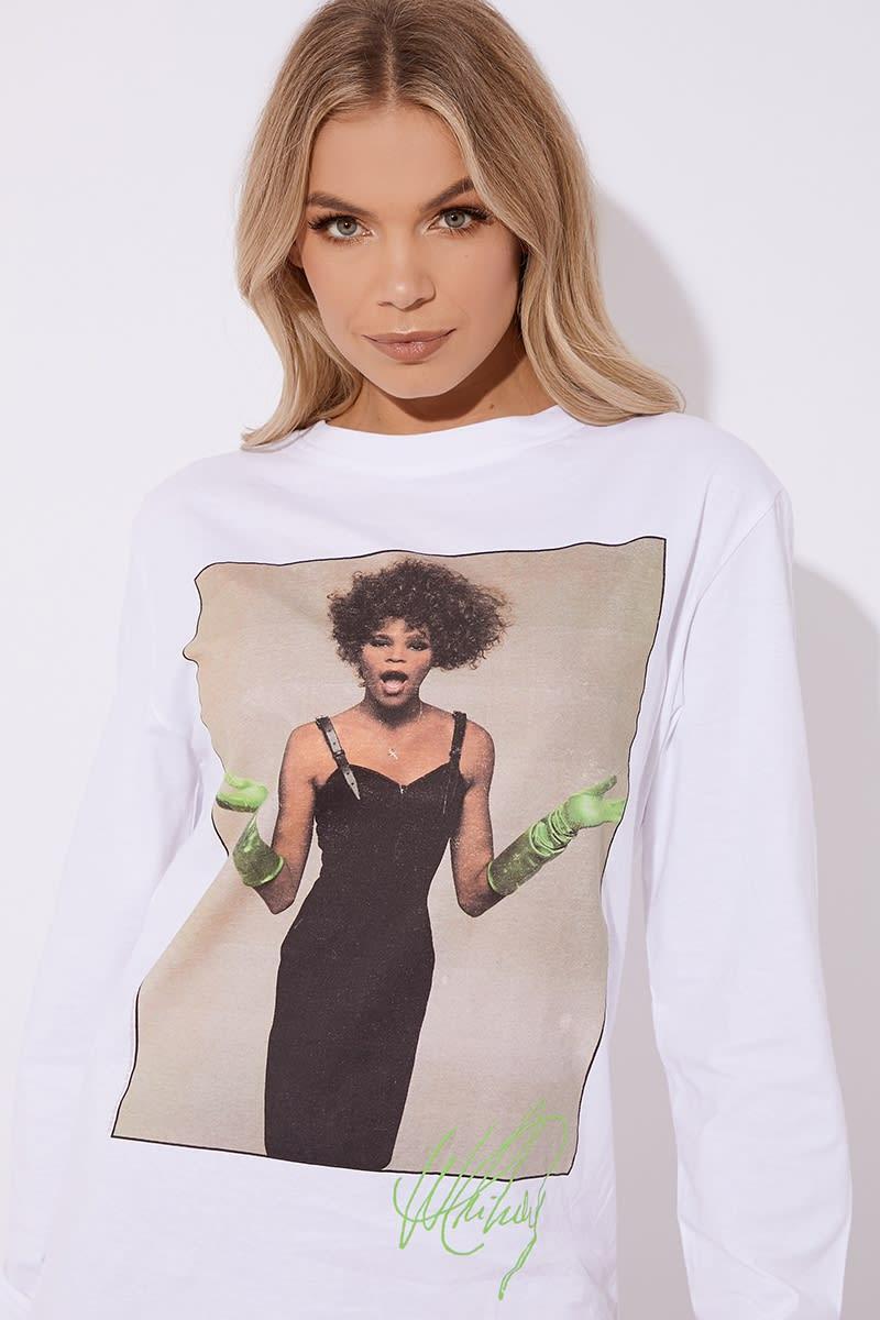 b14c8ab18f24 Cc Clarke Whitney Houston Oversized White Long Sleeve T Shirt Dress ...