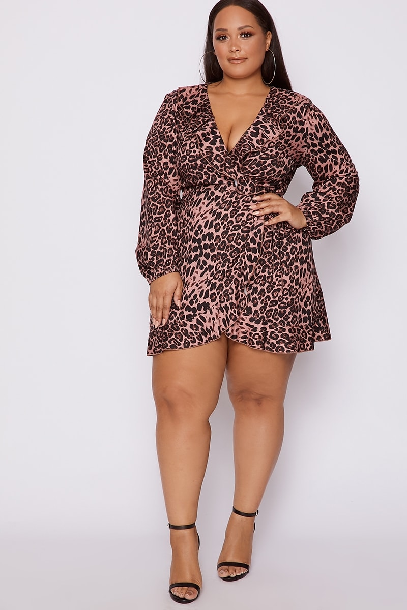 dd1e38cd75c7d1 Curve Dani Dyer Pink Leopard Print Frill Wrap Dress | In The Style