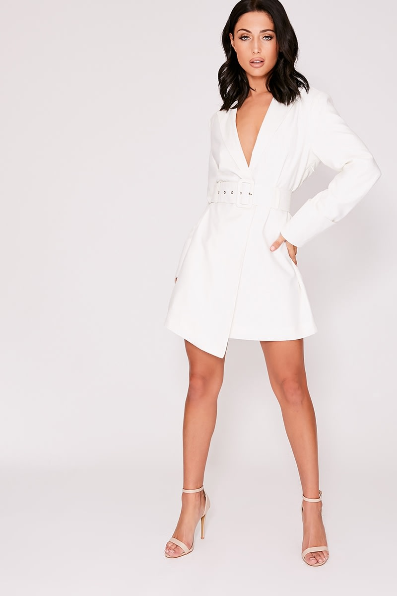 f420b08ba78 Emily Shak White Extreme Cuff Belted Blazer Dress | In The Style