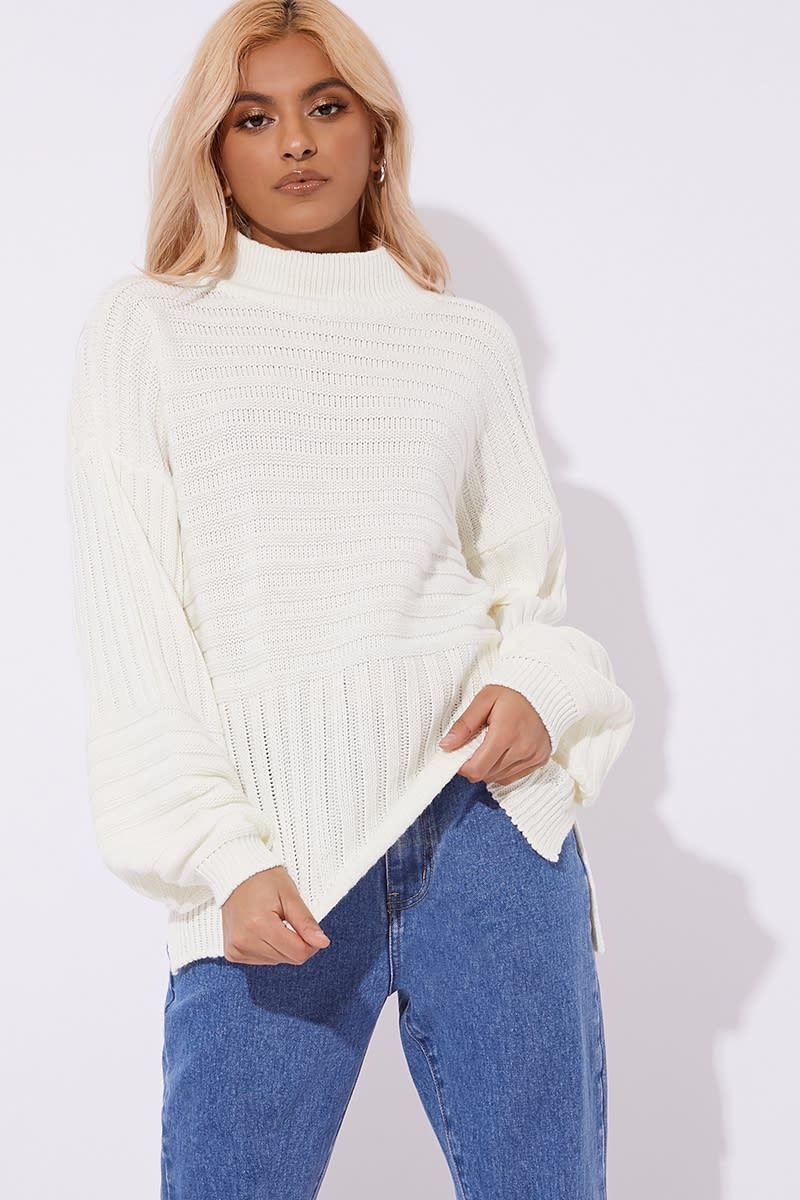 28e033cb724b3e Laura Jade Cream High Neck Knitted Rib Jumper | In The Style