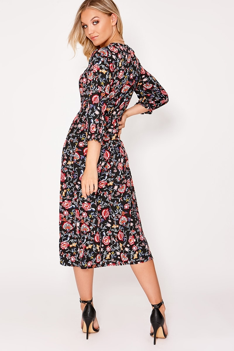3f4119bc2af2 Andalyn Black Floral Button Down Midi Dress | In The Style
