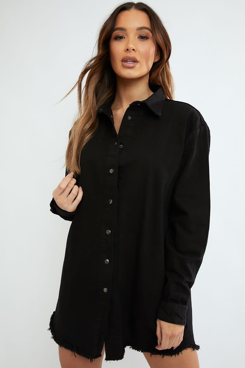 2a3c3e36bfe2 Jumanji Washed Black Frayed Hem Denim Oversized Shirt Dress | In The ...