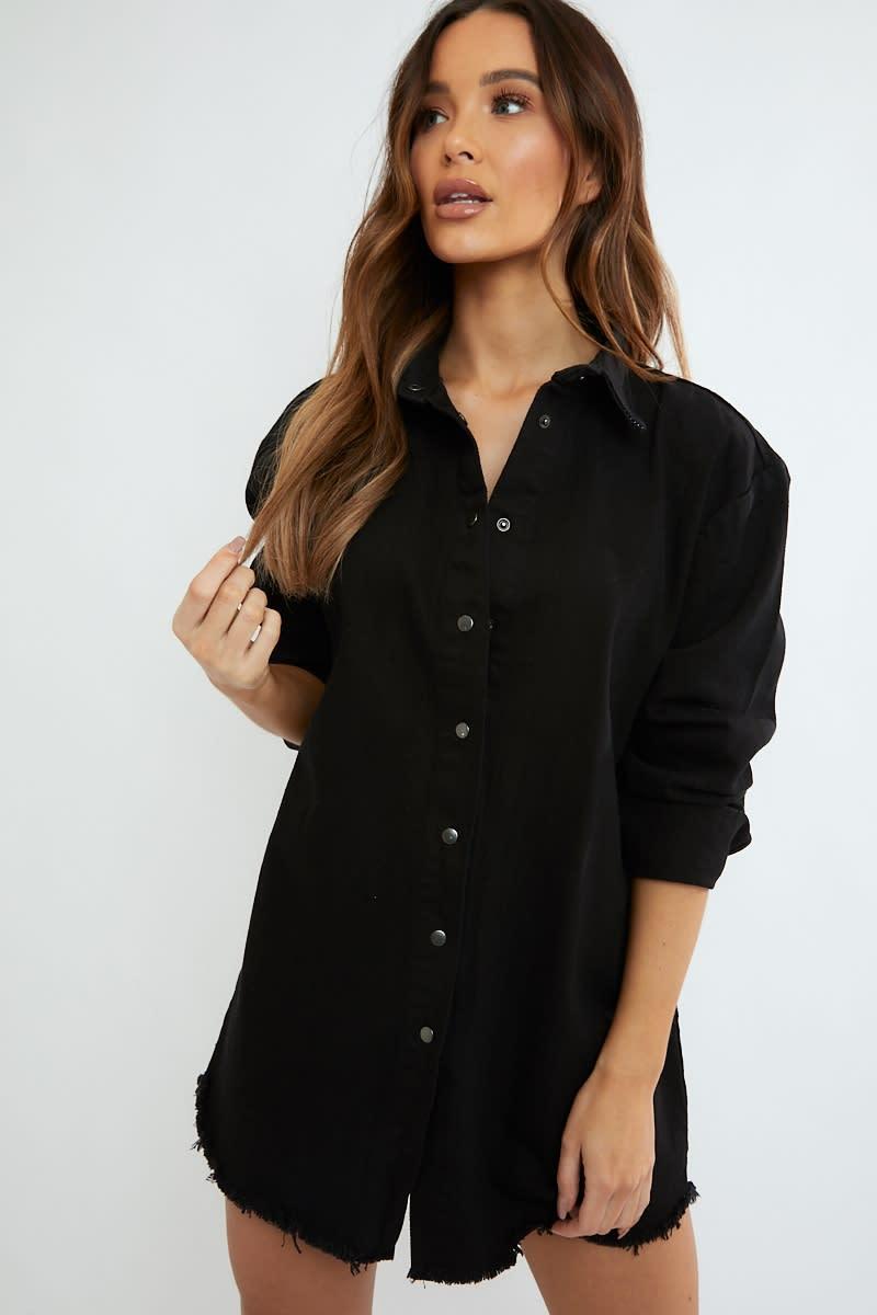 1f3ef3cc280b Jumanji Washed Black Frayed Hem Denim Oversized Shirt Dress | In The Style