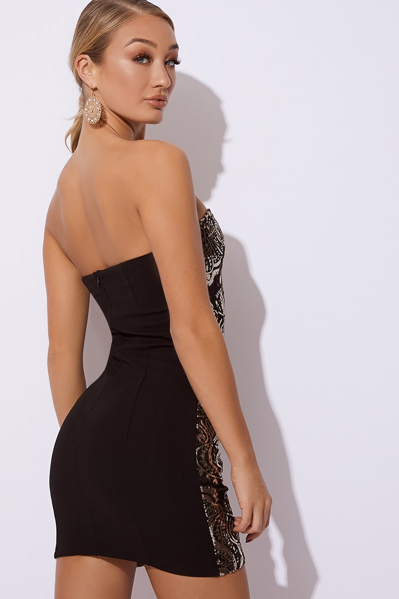 72852abc6ee7 Patrizia Black Sequin Lace Bandeau Mini Dress   In The Style