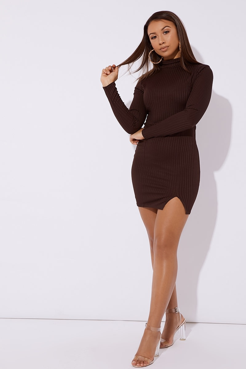 b796a9c3146 Caetti Brown Ribbed High Neck Split Mini Dress | In The Style