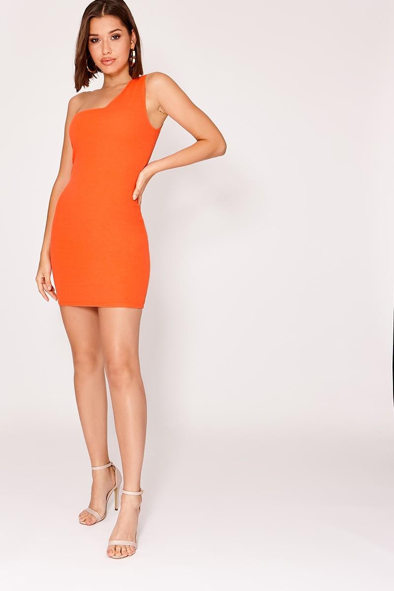 4ac0620330c4 Jaci Orange Crepe One Shoulder Mini Dress | In The Style