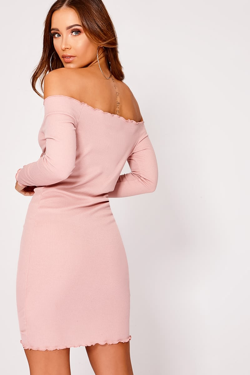 8ac1d967c7b3 Elissah Pink Ribbed Bardot Ruched Mini Dress | In The Style