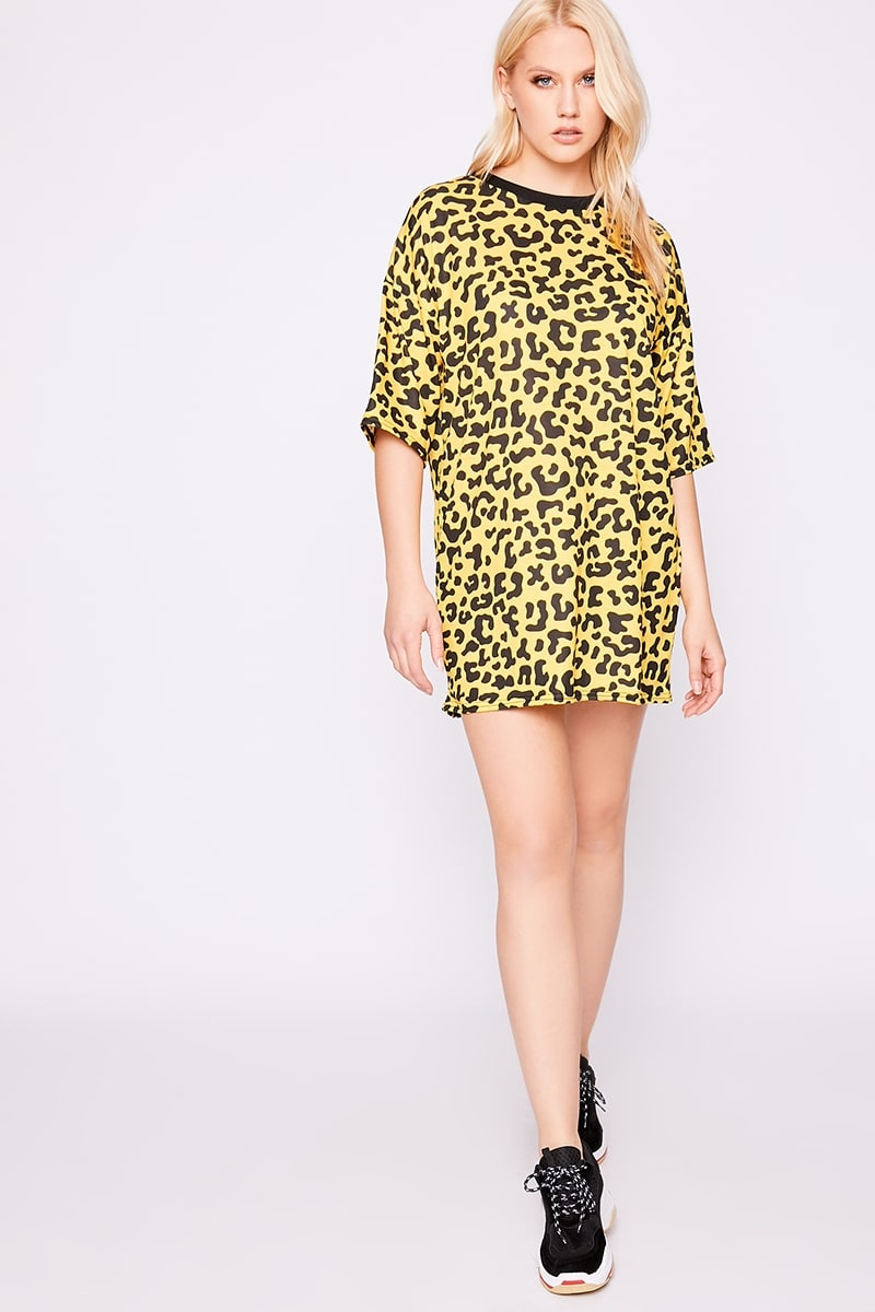 594ff1521688 Iggi Yellow Leopard Print Oversized T Shirt Dress | In The Style