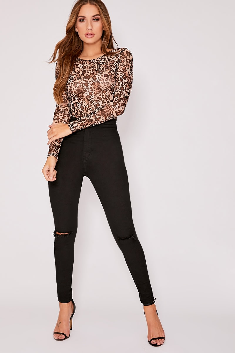 ca92e0bf4a7a Kailina Brown Leopard Print Mesh Long Sleeved Top | In The Style