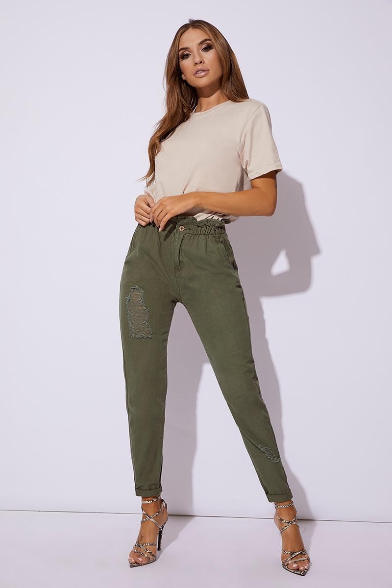 67b0f2ea9d6b Maya Khaki Denim Paperbag Distressed Mom Jeans | In The Style Australia