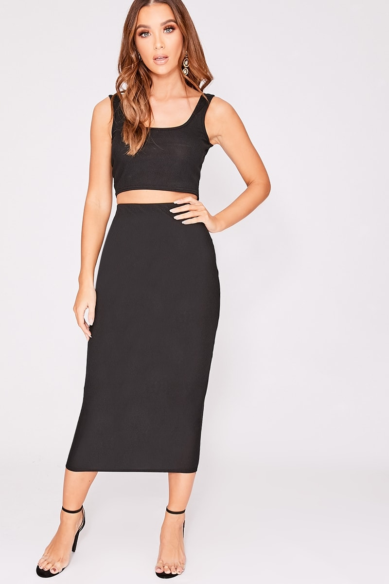 6f487cb4dbae4b Nyli Black Ribbed Midi Skirt | In The Style
