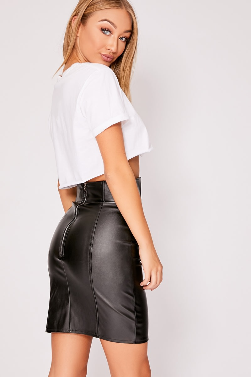 400e25b476c8 Irha Black Faux Leather High Waisted Zip Detail Mini Skirt | In The ...
