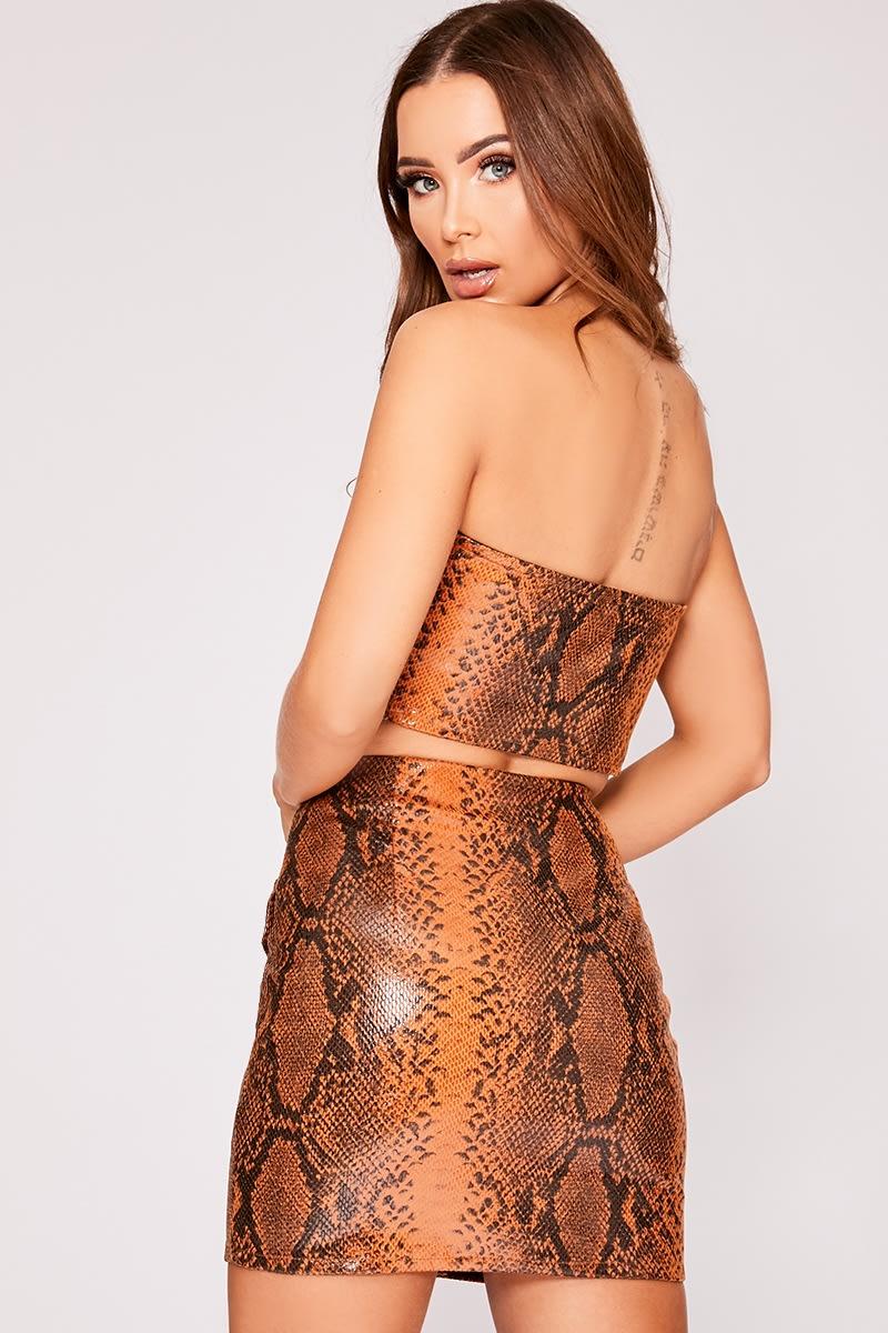 266b54458f09 Jazden Brown Pu Snake Print Mini Skirt | In The Style
