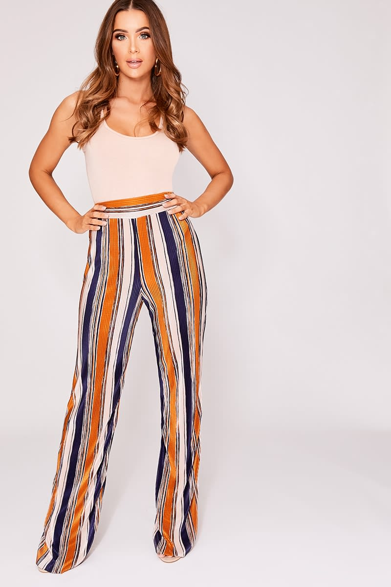 c5a7055fbd689d Imriela Multi Striped Pleated Wide Leg Trousers   In The Style