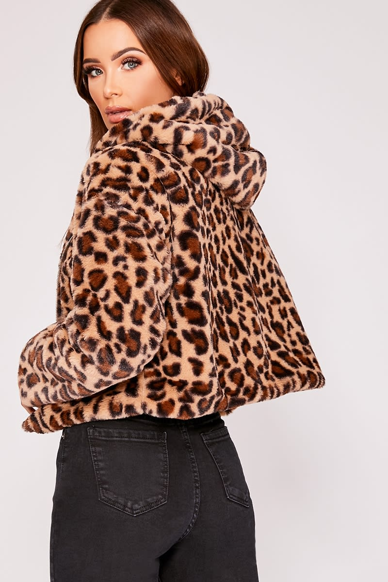 d8a8536e37a3 Ivy Leopard Faux Fur Hooded Cropped Jacket | In The Style