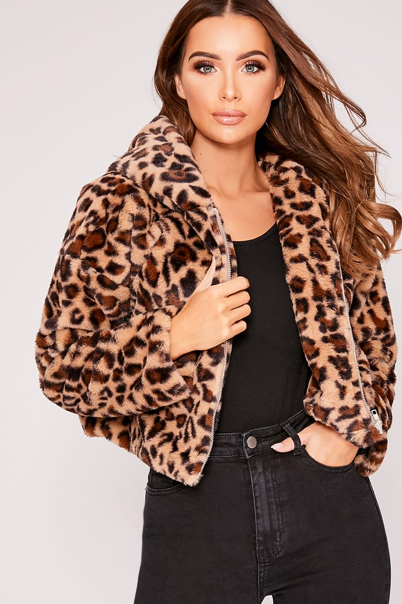 77b92e4e577e Ivy Leopard Faux Fur Hooded Cropped Jacket | In The Style