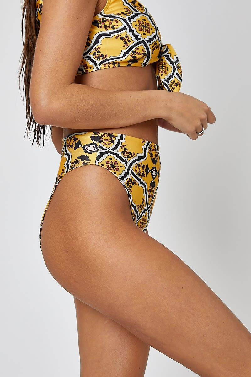 192e23199f Rexy Yellow Mosaic High Waisted Bikini Bottoms | In The Style Australia