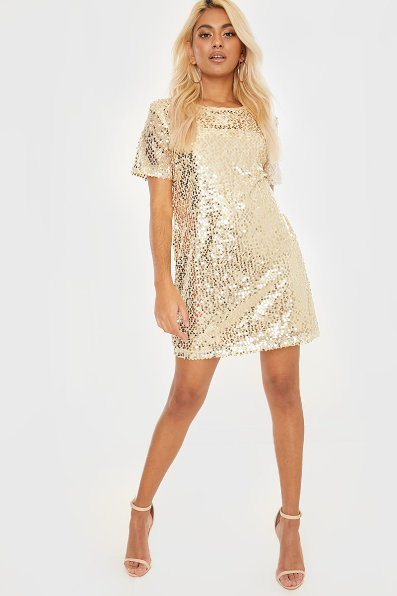 a8f5126e5 MADELINE GOLD SEQUIN T SHIRT DRESS | In The Style