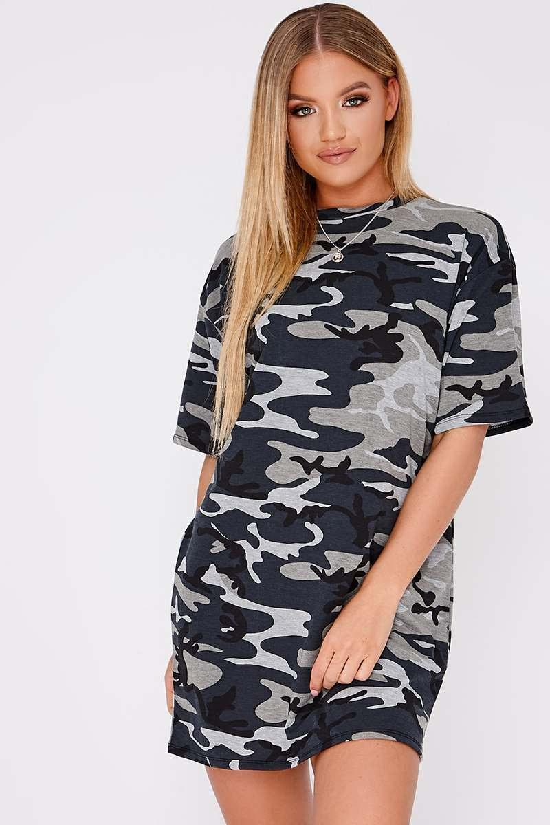 6f890a5fa6c0d Camo Oversized T-Shirt Dress | In The Style