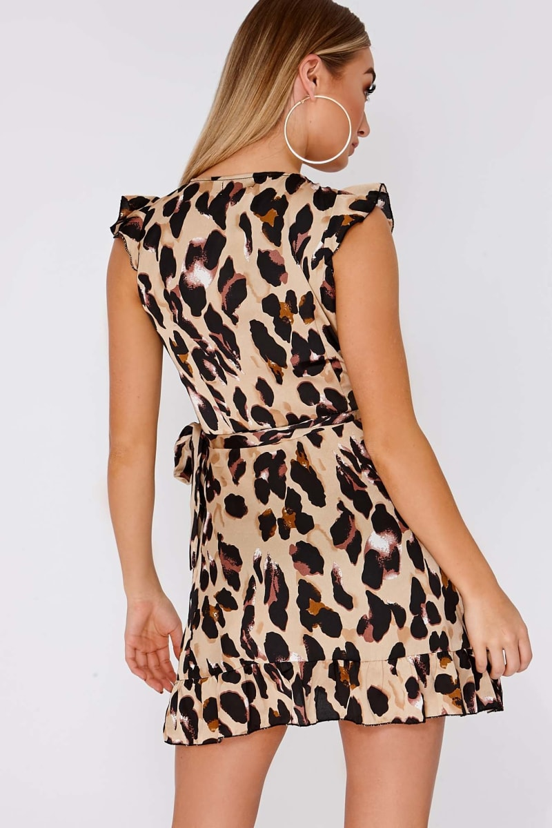 54c9fe3d491f Callen Gold Satin Leopard Print Frill Wrap Dress | In The Style