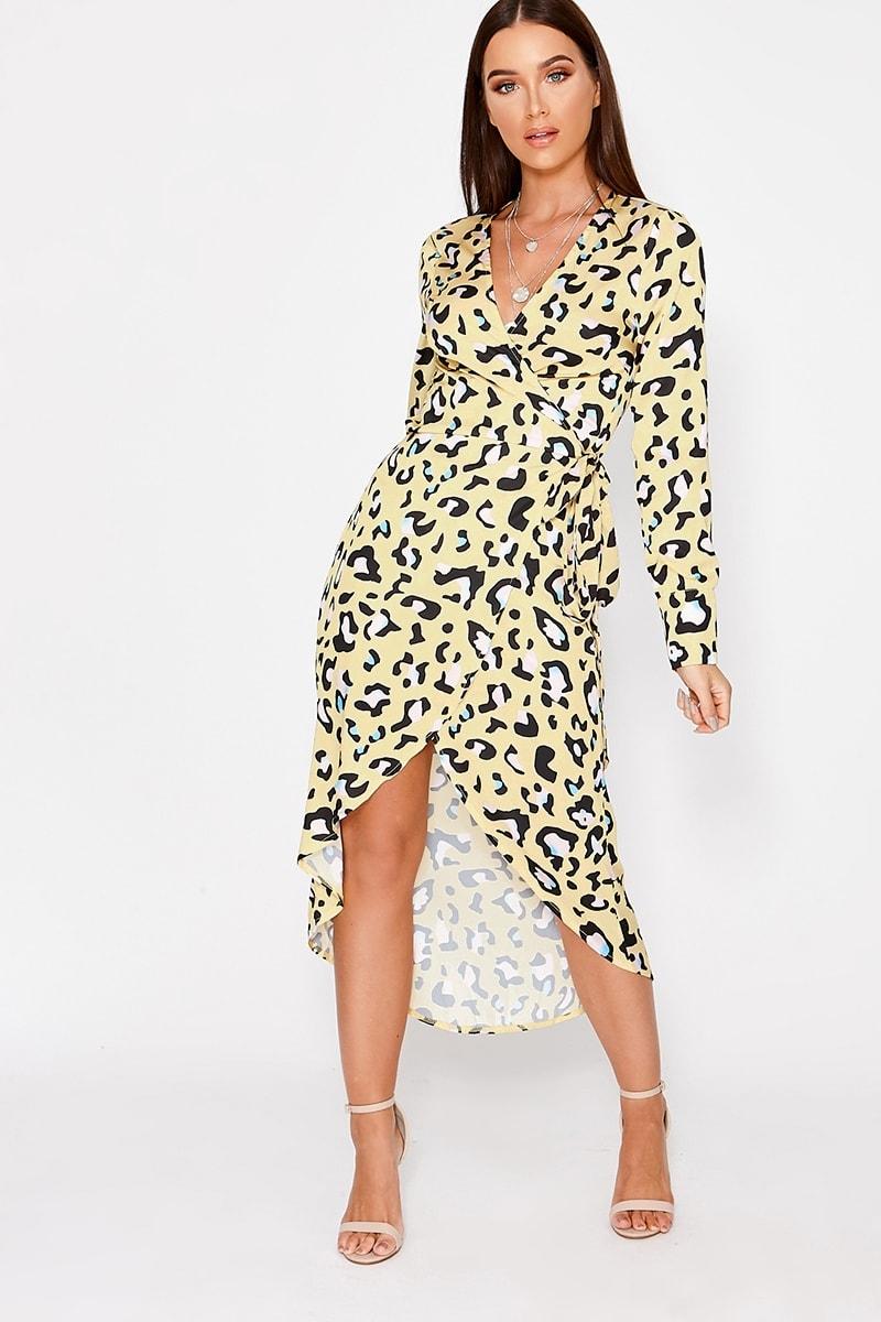 6f0eb059c07d Disa Yellow Leopard Print Satin Waterfall Dress | In The Style