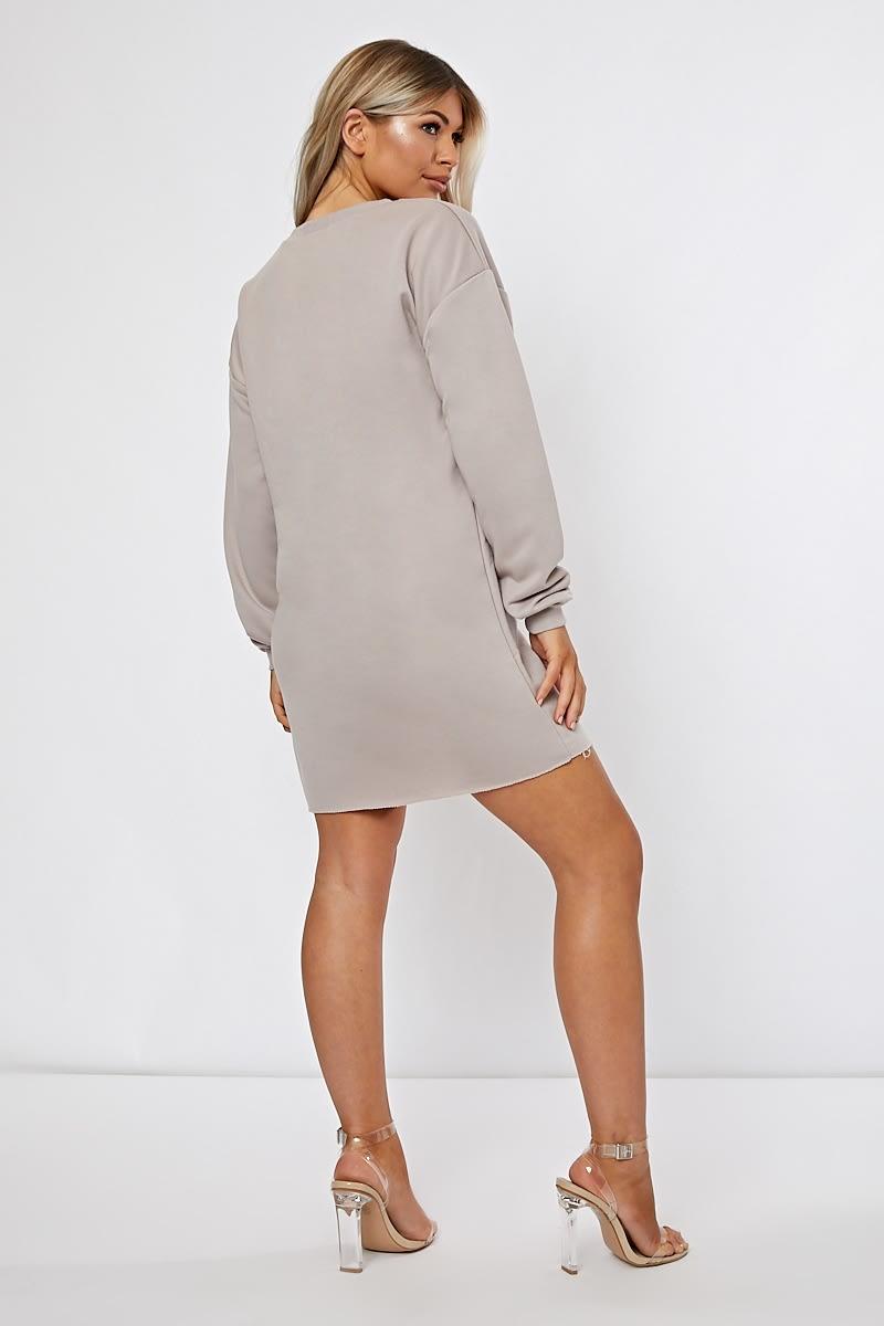 72e1e469c32d32 Louna Stone Oversized Sweater Dress | In The Style