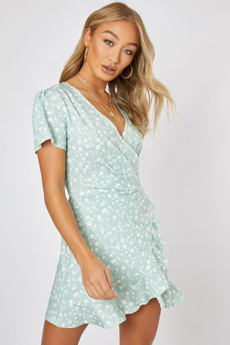 54b494b155d5 Billie Faiers Sage Green Ditsy Floral Wrap Front Mini Dress | In The ...
