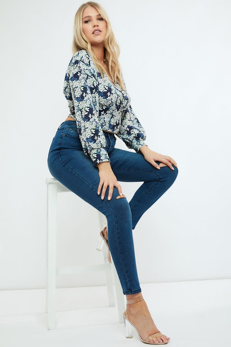 1fe4d1e9fa2b Emily Atack Navy Floral Print Crepe Wrap Top | In The Style