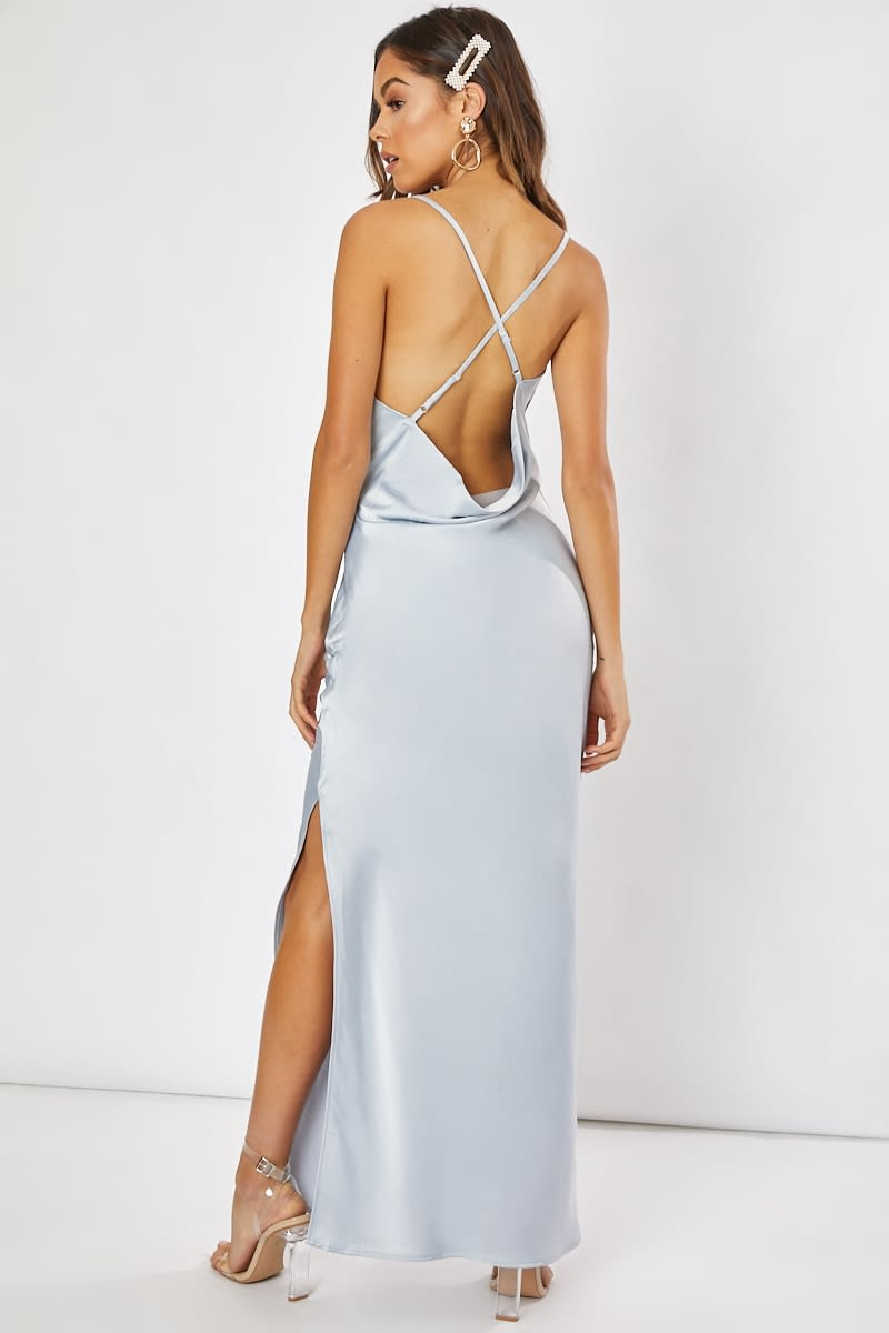d032967d3e37 Waverly Blue Satin Cowl Neck Cross Back Maxi Dress | In The Style