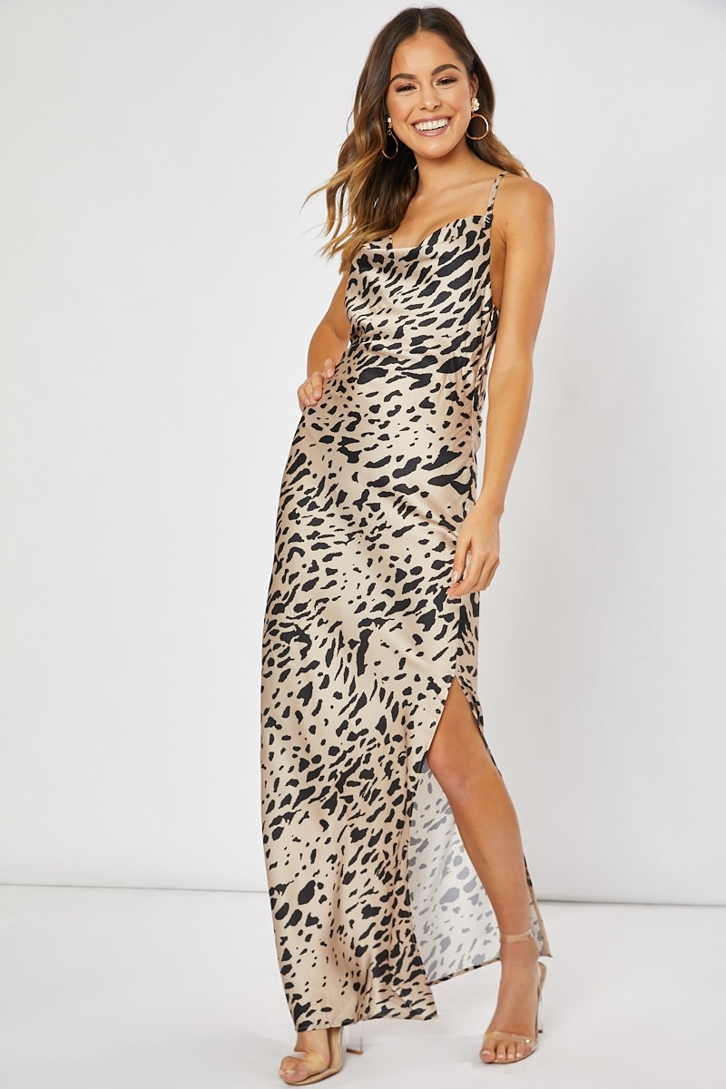 010b926df6 Waverly Gold Leopard Satin Cowl Neck Maxi Dress | In The Style