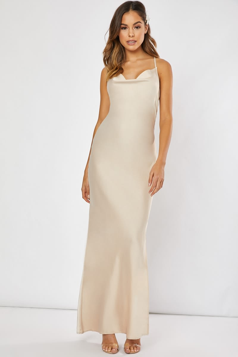 ae9961fad254 Waverly Gold Satin Cowl Neck Cross Back Maxi Dress | In The Style