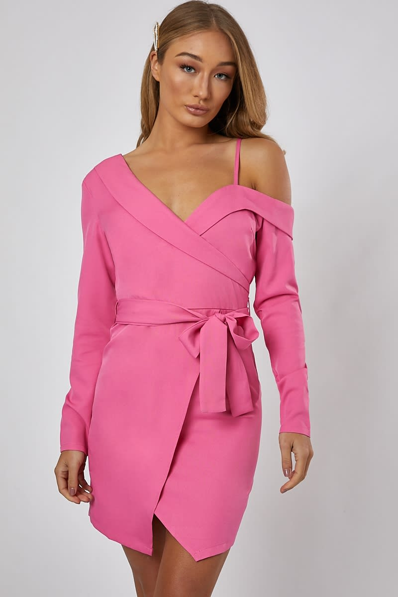 7bb172e91d371 Flannah Pink Off The Shoulder Wrap Dress | In The Style
