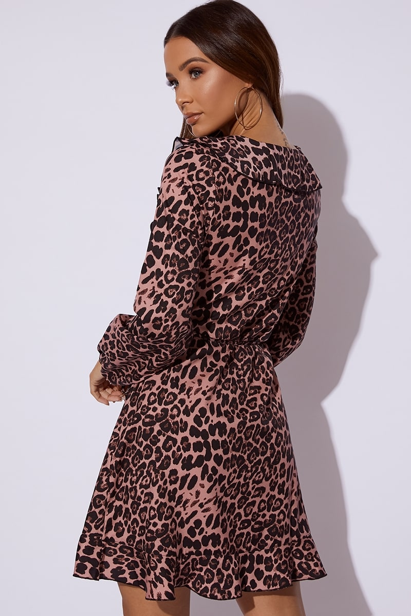 d6e5ac996c96b3 Dani Dyer Pink Leopard Print Frill Wrap Dress | In The Style