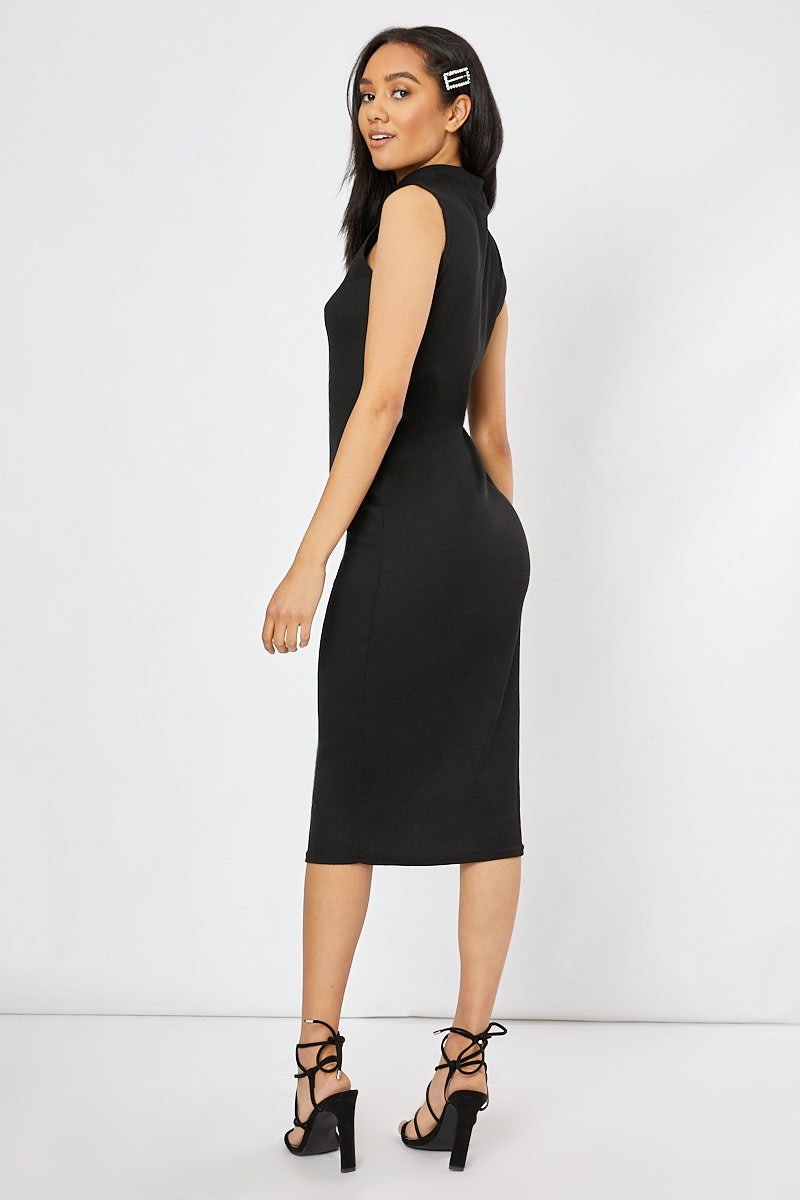 7dee3a737ce1eb Adorie Black High Neck Ribbed Midi Dress | In The Style