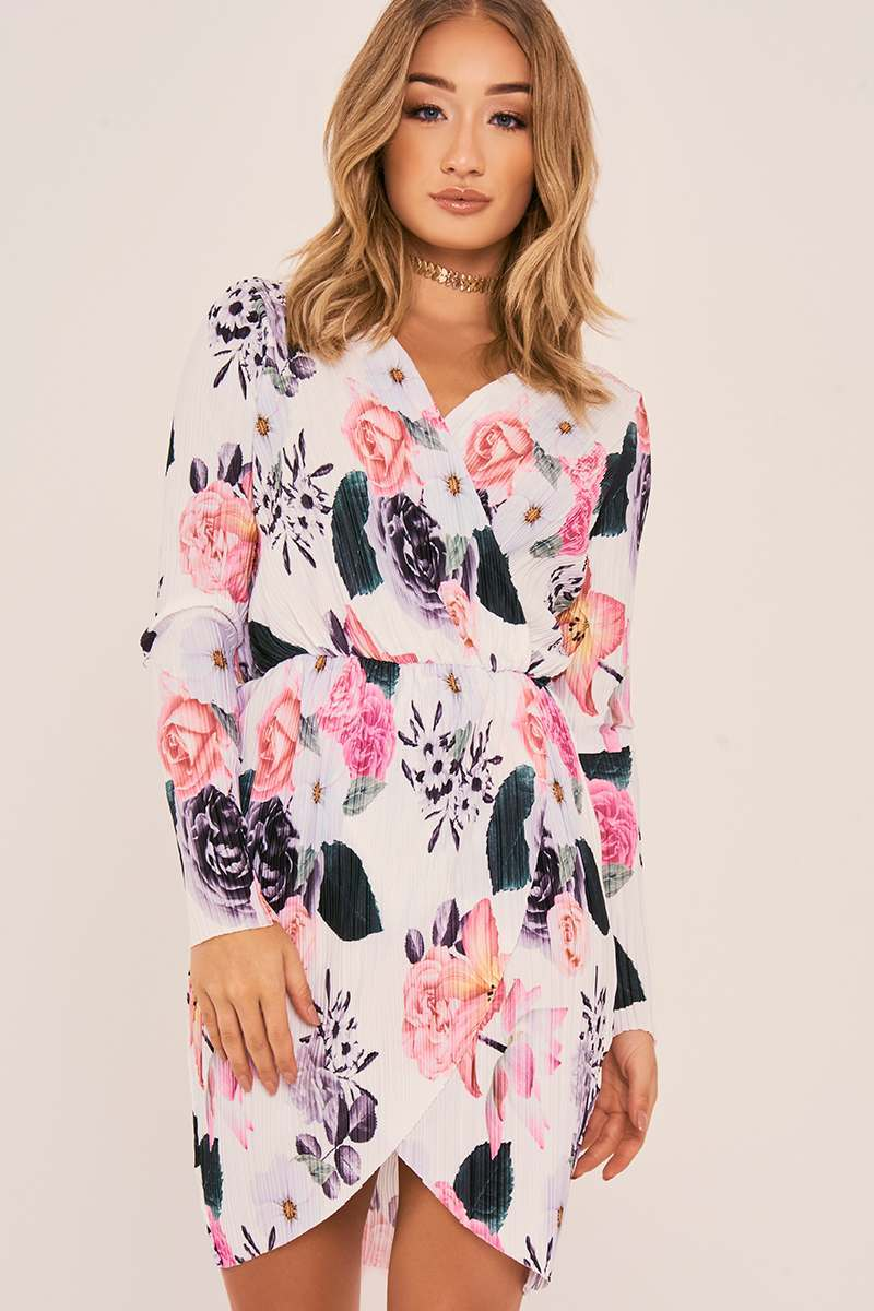 JOLEE WHITE FLORAL PLEATED WRAP FRONT DRESS
