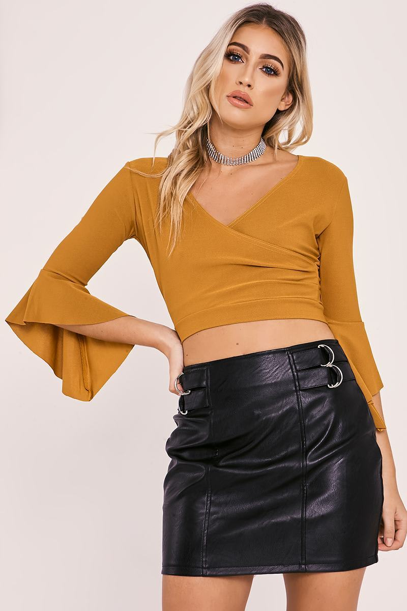 LEILANI MUSTARD WRAP TIE BACK TOP