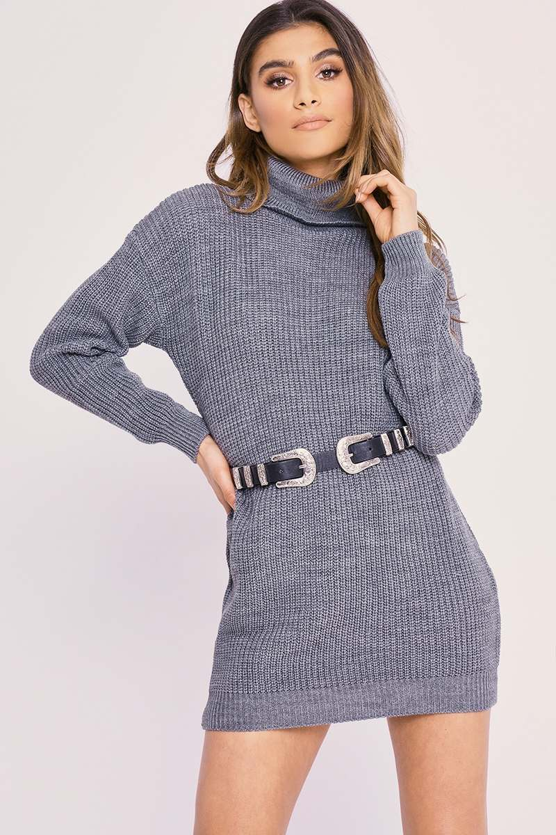 CHARLOTTE CROSBY GREY ROLL NECK OVERSIZED KNITTED JUMPER DRESS